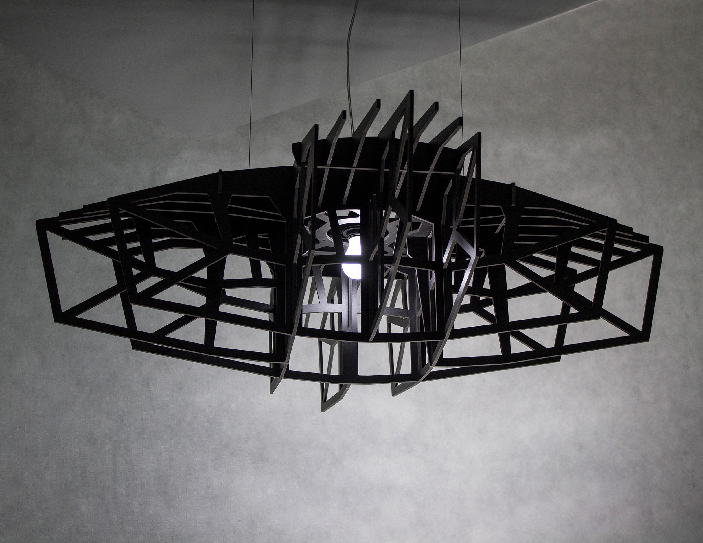 Lampa Nasu czarna gwiazda duża czarna lampa wisząca